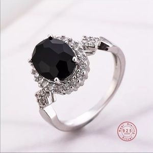 New 925 Sterling Silver Ring Black CZ Crystal